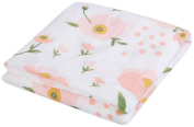 Little Jump Ultra Soft Bamboo baby blanket Floral muslin swaddle blankets, 120cm x 120cm Baby swaddle wrap for girl.