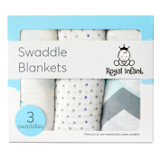 100% Cotton Muslin Swaddle Blanket, Nursing Cover, Sun Shade, Stroller Cover, Car Seat Cover, Cotton, 3-Pack (Soft Blue) by Royal Infant