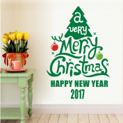 DZT1968 1PC Christmas Tree Decoration Decal Window Stickers Home Decor