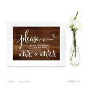 Andaz Press Wedding Framed Party Signs, Rustic Wood Print, 13cm x 18cm , Please Leave Your Wishes for the New Mr. & Mrs., 1-Pack, Includes Frame, Guestbook Table Signage