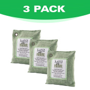 Moso Natural Air Purifying Bag. Odour Eliminator for Cars, Closets, Bathrooms and Pet Areas. Green Colour, 200-G 3 Pack