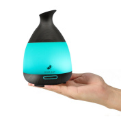 Essential Oil Diffuser, MINO ANT 120ML Portable Black Wood Grain Cool Mist Ultrasonic Air Aroma Humidifier with LED 7 Colour Changing Lights and Auto Shut-Off Sensor