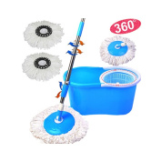 360 Degree Spinning Mop Bucket Home Cleaner With Two Mop Heads Blue Cleaning Home