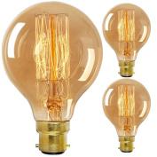 Vintage Edison Light Bulb BC B22 Bayonet Globe Bulb 60W Dimmable G80 80mm - Pack of 3