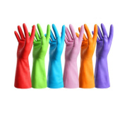 6 Pair Rubber Latex Waterproof Thick Colourful Cleaning Kitchen Gloves