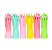 6 Pair Housework Clean Kitchen Brush Bowl Plastic Leather Gloves Durable,A2