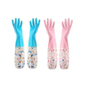 2 Pair Winter Water Stop Latex Rubber Gloves Dish Washing Kitchen Gloves,A
