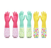 3 Pair Latex Gloves Kitchen Brush Bowl Washing Clothes Long Sleeves Gloves,A