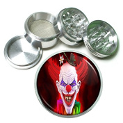 """Evil Clowns Scary Horror S2 Chrome Silver 2.5"""" Aluminium Magnetic Metal Herb Grinder 4 Piece Hand Muller Herb & Spice Heavy Duty 63mm"""