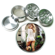 """German Pin Up Girls Germany S12 Chrome Silver 2.5"""" Aluminium Magnetic Metal Herb Grinder 4 Piece Hand Muller Herb & Spice Heavy Duty 63mm"""
