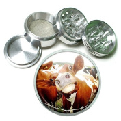 """Funny Face Animals S11 Chrome Silver 2.5"""" Aluminium Magnetic Metal Herb Grinder 4 Piece Hand Muller Herb & Spice Heavy Duty 63mm"""