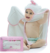 Ultimate Bamboo Baby Hooded Bath Towel | Buttoned Bathrobe with Pink Bunny for Girls | Very Soft Fabric | Perfect as a Shower-Gift for Newborn, Infant, Toddler, Up To a 3 Year Old Birthday Girl