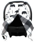 Dear Baby Gear Deluxe Car Seat Canopy, Custom Minky Print Black Bears, Black and Grey Plaid Minky
