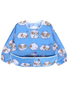 Long Sleeved Bib Waterproof Bibs for Babies and Toddlers with Pocket