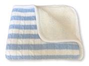 effe bebe Sweet Stripe Cotton Cable Knit Sherpa Baby Blanket 80cm x 100cm Slate Blue