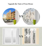 Lemon Cloud 3D No Glue Static Decorative Privacy Window Films bamboo pattern 35.4 In. By 78.7In