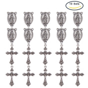 PandaHall Elite 10 Sets Rosary Cross and Centre Miraculous Medal with Crucifix Cross Pendants and Virgin Links for Rosary Bead Necklace Making Antique Silver