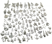Pack of 100 Mixed DIY Antique Ocean Fish & Sea Creatures Pendants Charms for Crafting,Bracelet Necklace Jewellery Findings Jewellery Making Accessory