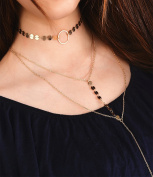 Women Sexy Multilayer Necklace Long Thin Sequins Choker Chain Tassel Pendant Jewellery
