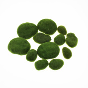 LJY 12 Pieces Assorted Sized Artificial Moss Rocks Decorative Faux Stones for Floral Arrangements, Fairy Gardens, Terrariums and Crafting