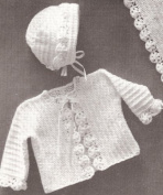 Vintage Crochet PATTERN to make - Baby Bonnet Sweater Blanket Set. NOT a finished item. This is a pattern and/or instructions to make the item only.