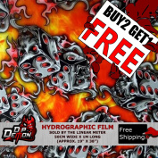 Lm Red Flaming Dice Skulls Fire Flames Hydrographic Water Transfer Film Hydro Dipping Dip Demon
