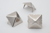 Giant Pyramid Studs - Size 25 - Ideally used for Denim and Leather Work - Classic Two-Prong Studs - Available in Silver Colour - Pack of 25 studs and spikes