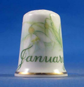 Porcelain China Thimble -- Flower on the Month -- January
