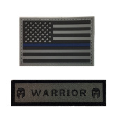 Thin Blue Line Hook and loop PVC Rubber American Flag Patch, Support Police and Law Enforcement Morale Patch, Blue Lives Matter Patch, Perfect for tactical operator caps & hats