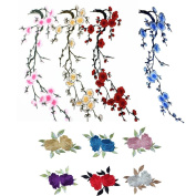 10 Pcs Plum Blossom Flower Rose Flower Leaves Embroidery iron On Applique Patch by UBOOMS