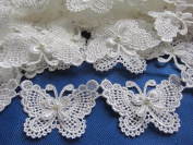 YYCRAFT Butterfly 7.6cm Lace Edge Trim Pearl Wedding Applique DIY Sewing-White