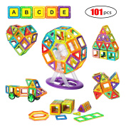 Magnetic Blocks, Magnetic Tile 101 PCS Set Magnet Building Construction Toys Educational Toys for Kids Boys and Girls Minto Toy