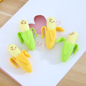 NUOLUX 20pcs Cute Funny Novelty Banana Pencil Eraser Rubber Stationery Kid Gift Toy