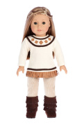 Pocahontas - 3 piece outfit - 46cm doll clothes - ivory tunic, corduroy pants and brown boots.
