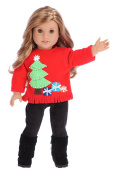 Christmas Sweater - 3 piece outfit - 46cm doll clothes - red sweater, black pants and black boots.