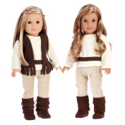 Warm and Cosy - 4 piece outfit - 46cm doll clothes - brown vest, ivory blouse, corduroy pants and brown boots.