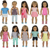 American Girl Doll Clothes Wardrobe Makeover- 10 Complete Outfits, Fits 46cm Doll Clothes- by PZAS Toys