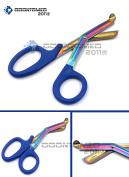 OdontoMed2011® BLUE HANDLE RAINBOW BLADE TACTICAL SHEARS EMT SCISSORS 19cm MULTI colour ODM