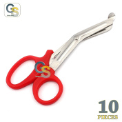 G.S 10 PCS RED UTILITY UNIVERSAL SCISSORS 14cm MULTI-PURPOSE SHEARS INSTRUMENTS BEST QUALITY