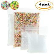 4 Pack Slime Beads Supplies - Fishbowl Beads Fish Bowl Vase Filler 100ml - Clear Slushie Beads 100ml - Colourful Styrofoam Foam Balls Mini 0.3cm - 0.5cm (10000pcs) Bonus Fruit Splice, Glitter Sequins