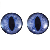 40mm Pair of Large Blue Cat Glass Eyes, for Jewellery making, Arts Dolls, Sculptures, and More