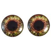 40mm Pair of Big Brown and Cream Glass Eyes, for Jewellery Making, Arts Dolls, Sculptures, and More