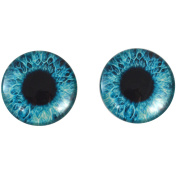 40mm Pair of Big Bright Blue Glass Eyes, for Jewellery Making, Arts Dolls, Sculptures, and More