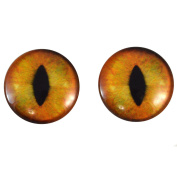 40mm Pair of Large Realistic Orange Cat Glass Eyes, for Jewellery making, Arts Dolls, Sculptures, and More