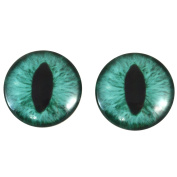 40mm Pair of Large Teal Cat Glass Eyes, for Jewellery making, Arts Dolls, Sculptures, and More