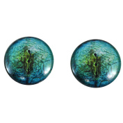 40mm Pair of LargeBlue Lizard Glass Eyes, for Jewellery making, Arts Dolls, Sculptures, and More