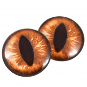 40mm Pair of Large Amber Cat Glass Eyes, for Jewellery making, Arts Dolls, Sculptures, and More