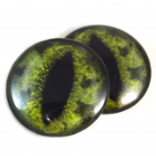 40mm Pair of Large Green Alligator Glass Eyes, for Jewellery making, Arts Dolls, Sculptures, and More
