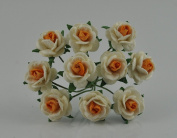 100 White & Orange Rose Mulberry Paper Flower Scrapbook Wedding Craft size 1 cm. Wedding Card Craft Scrapbook Rose Scrapbook Craft Wedding NO 166
