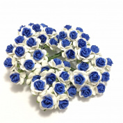 100 White Denim Blue Rose Mulberry Paper Flower Scrapbook Wedding Craft size 1 cm. Wedding Card Craft Scrapbook Rose Scrapbook Craft Wedding NO 166